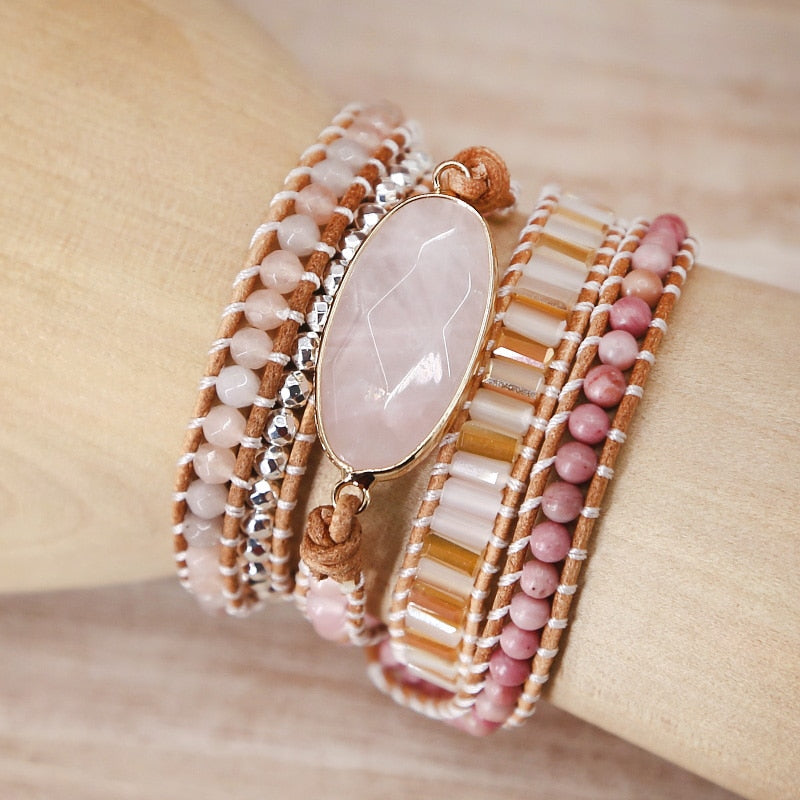 Cute Natural Stone Leather Pink Bracelet - JEWELRY WEARS