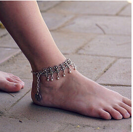 Summer Multilayer Metal Chains Natural Green Stone Bead Anklet - JEWELRY WEARS