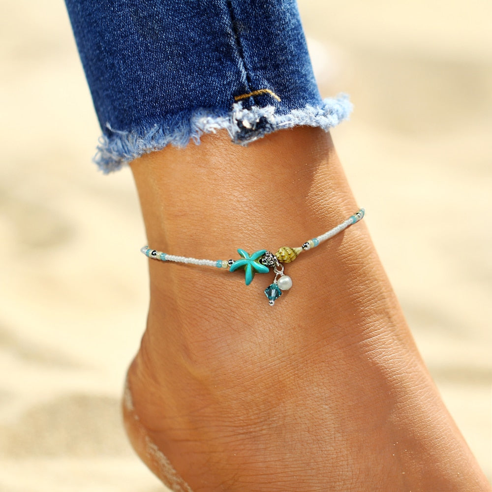 Fashion Bohemian Imitation pearls Starfish Anklets - JEWELRY WEARS
