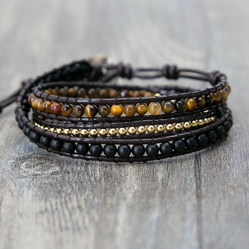 Mixed Triple Simple Leather Beaded Bracelet - JEWELRY WEARS