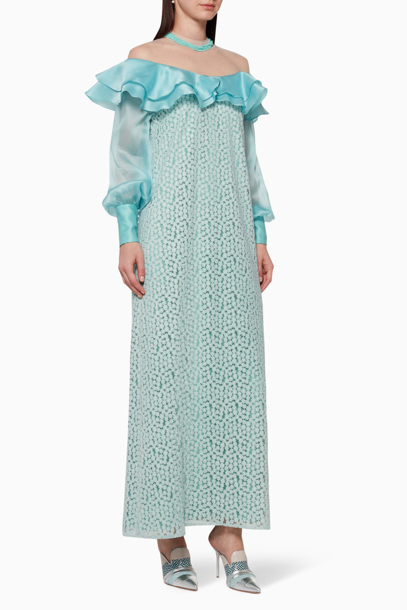 Off shoulder Floral Lace Kaftan