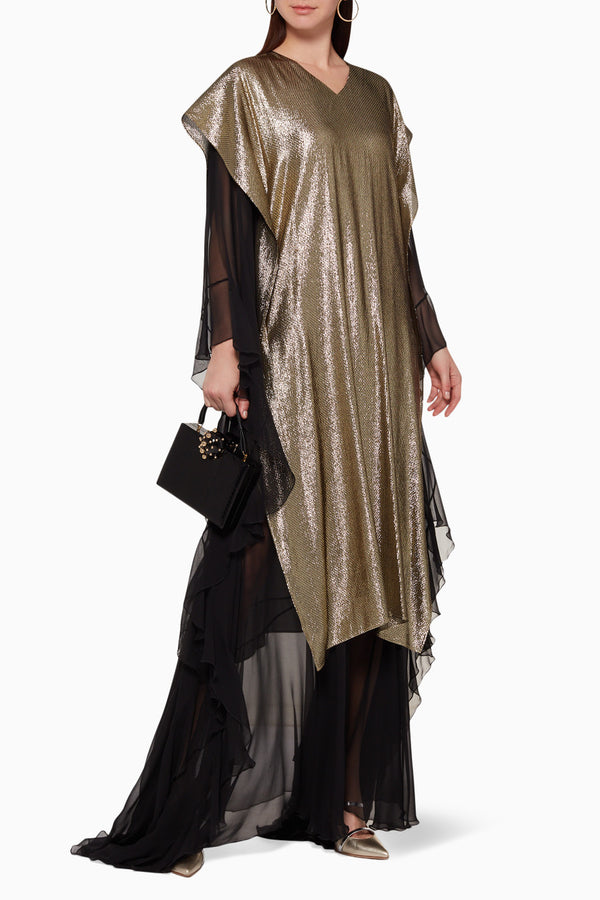 Layered ruffle lame kaftan