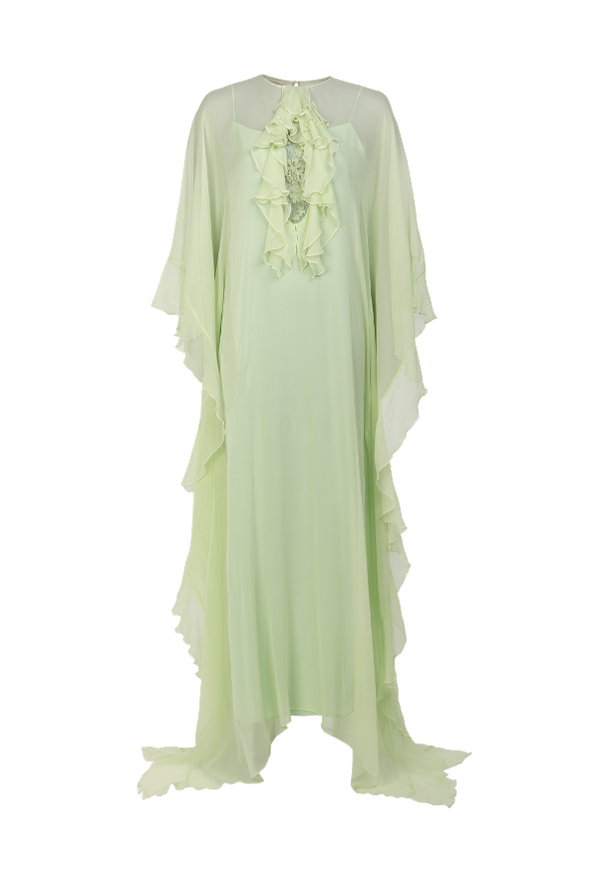 Lace inserted Chiffon ruffle kaftan