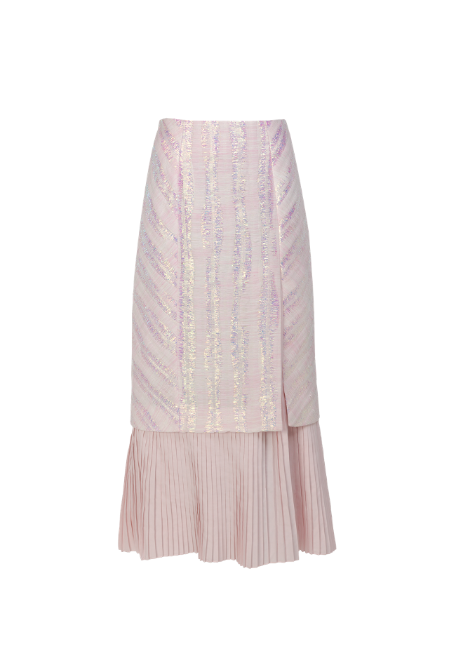 Pleated Jacquard Midi Skirt