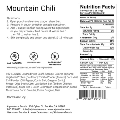 Alpine Aire Mountain Chili Meals Ready to Eat MRE