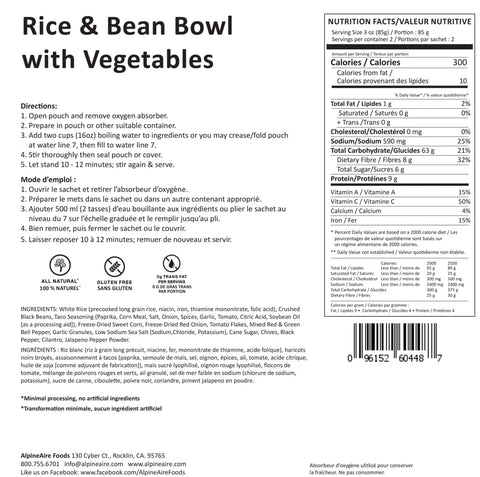 Alpine Aire Rice and Beans with Vegetables Meals Ready to Eat MRE