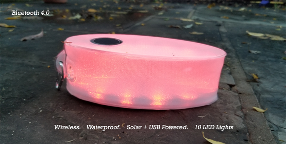 eFlatable Wireless Solar Waterproof Bluetooth Speaker with LED Lights, USB Red