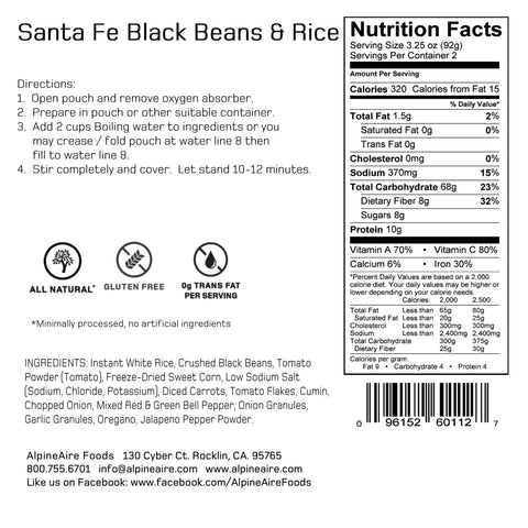 AlpineAire Black Santa Fe Beans and Rice Meals Ready to Eat MRE