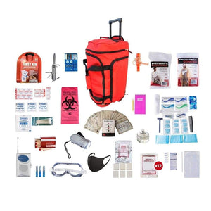 1 Person Deluxe Survival Kit Emergency Preparedness (72+ Hours)-Emergency Tools & Kits-Guardian-SKXK||Red Wheel Bag-Solar Sporting Goods