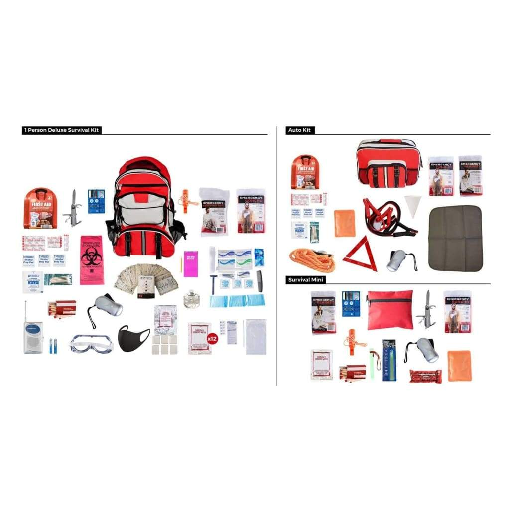 1 Person Preparedness Package | 3 Kits in 1 | Off Grid Survival Gear Emergency Kit-Emergency Tools & Kits-Guardian-Solar Sporting Goods