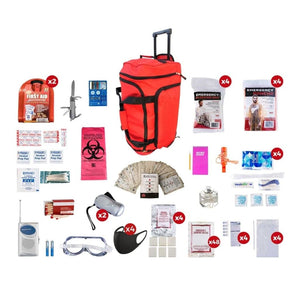 4 Person Deluxe Survival Kit Emergency Preparedness (72+ Hours)-Emergency Tools & Kits-Guardian-SKX4 Red Wheel Bag-Solar Sporting Goods