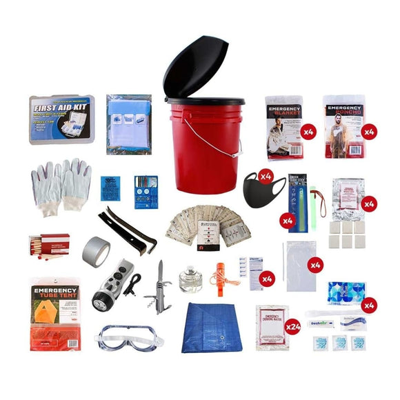 4 Person Bucket Survival Kit | Off Grid Survival Gear Emergency Kit-Emergency Tools & Kits-Guardian-Solar Sporting Goods