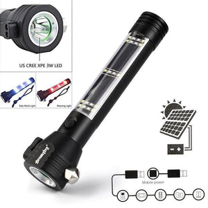 Solar Powered + USB Rechargeable LED Multi-function Flashlight | 3 Light Modes-Flashlight-Solar Sporting Goods-Solar Sporting Goods