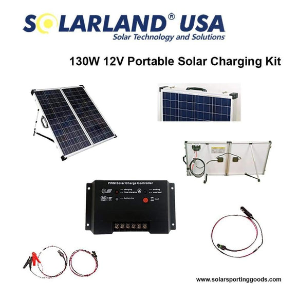 Solarland USA  SLP130F-12S 130W 12V Portable Solar Panel Charge Kit-Solar Kits-Solarland-Solar Sporting Goods