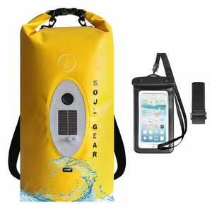 SOUL GEAR Waterproof Dry Bag With Solar Wireless Bluetooth Speaker 20L