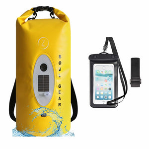SOUL GEAR Waterproof Dry Bag With Solar Wireless Bluetooth Speaker 10L
