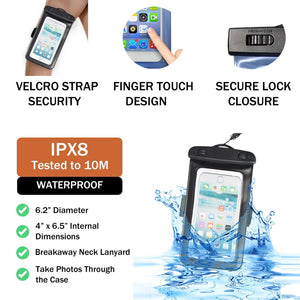"Waterproof IPX8 Phone Pouch | Velcro Arm Band, Neck Strap | Fits Smartphones 6.2"" diameter"