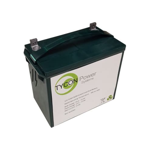 Tycon Power 12V 52Ah AGM Sealed Lead Acid Battery for Solar Panel-Batteries-Tycon Solar®-Solar Sporting Goods