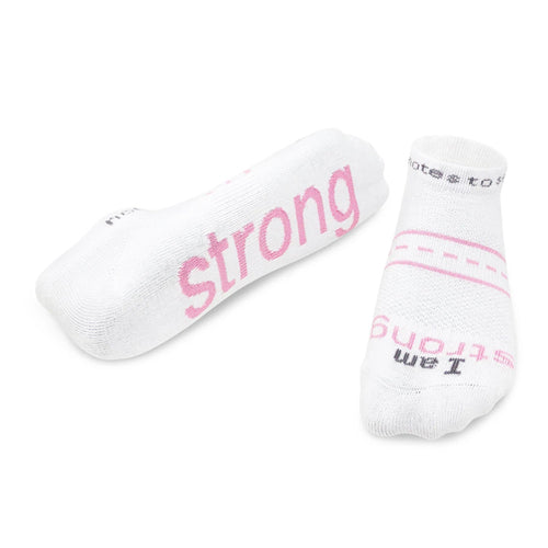 'I am strong'™ white 'LITE-NOTES'™ socks - pink words