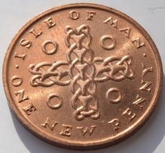 "1975 Isle of Man one penny 1P ""Celtic Cross"" uncirculated BU coin - Confessor the shop for all Collectables Coins Badges Banknotes Medals Tokens militaria"