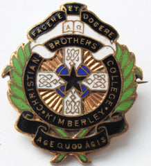 CATHOLIC SCHOOL BADGE; CHRISTIAN BROTHERS college Kimberley South Africa - Confessor the shop for all Collectables Coins Badges Banknotes Medals Tokens militaria