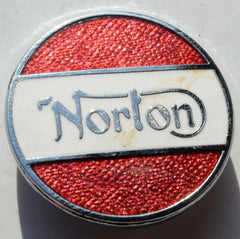 NORTON   MOTORCYCLE ENAMEL MOTORBIKE BRITISH BIKE  ROUND BADGE - Confessor the shop for all Collectables Coins Badges Banknotes Medals Tokens militaria