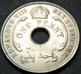 1936 King Edward VIII British West Africa Penny high grade coin