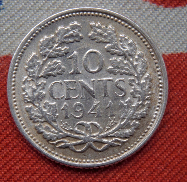 1941 Netherlands Silver 10 Cents HIGH GRADE Coin