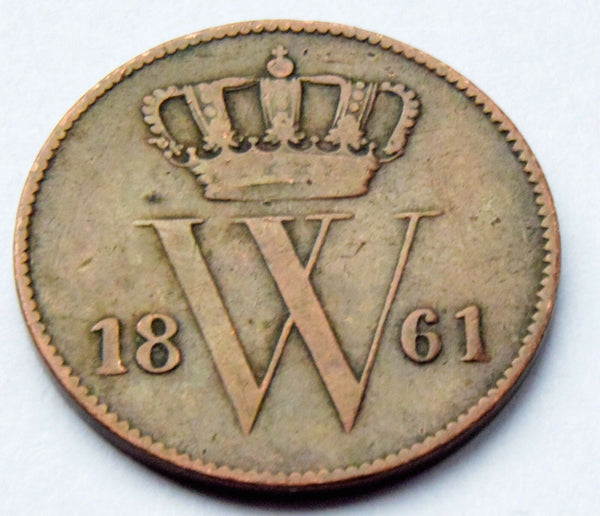 1861 NETHERLANDS William III Cent Copper HIGH GRADE COIN KM #100