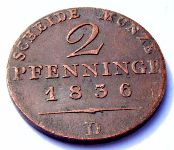 1836 D GERMANY German States PRUSSIA 2 Pfenning  COPPER COIN KM#406