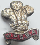 Vintage WPGBA Brooch Badge Red Enamel Welsh Private Greens Bowls Association
