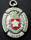 1926 Leicestershire  & District Motorcycle Club Silver & Enamel Watch Fob Medal