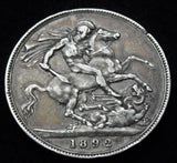 1892 Queen Victoria Jubilee Head Silver Crown high grade coin