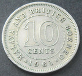1961 Malaya & British Borneo 10 Cents high grade coin