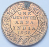 1936 British India King George V  Quarter Anna with dot high grade Coin.