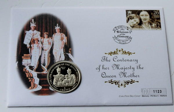 2000 Isle of Man Queen Mother 1937 Coronation coin cover