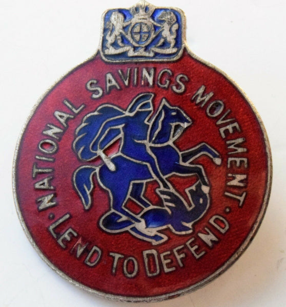 WWII National savings Lend To Defend Enamel lapel Badge toy and Co London