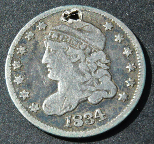 1834 United States USA Half Dime Capped Bust 5 Cent silver coin