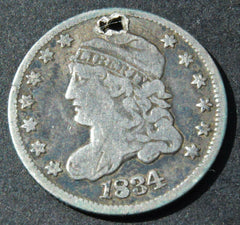 1834 United States USA Half Dime Capped Bust 5 Cent silver coin - Confessor the shop for all Collectables Coins Badges Banknotes Medals Tokens militaria