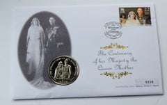 Coin Cover 2000 Queen Mother 100th Birthday Isle of Man Crown 6839 - Confessor the shop for all Collectables Coins Badges Banknotes Medals Tokens militaria