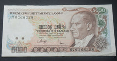 1970 Turkey, 5000 Lira, L. BANKNOTE - Confessor the shop for all Collectables Coins Badges Banknotes Medals Tokens militaria