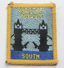 Vintage Scouting Boy Scout  GREATER LONDON SOUTH Badge  Cloth Patch. - Confessor the shop for all Collectables Coins Badges Banknotes Medals Tokens militaria