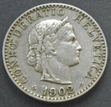 1902 Switzerland, 20 Rappen, coin