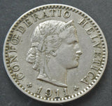 1911 Switzerland, 20 Rappen, coin