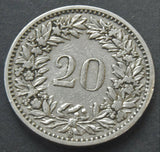 1884 Switzerland, 20 Rappen, coin