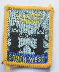 Vintage Scouting Boy Scout GREATER LONDON SOUTH WEST Badge  Cloth Patch. - Confessor the shop for all Collectables Coins Badges Banknotes Medals Tokens militaria