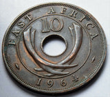 1964 EAST AFRICA 10 CENTS SENTI KUMI COIN