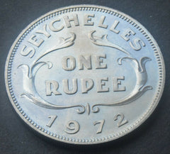 1972 SEYCHELLES 1 Rupee Queen Elizabeth II high grade coin - Confessor the shop for all Collectables Coins Badges Banknotes Medals Tokens militaria