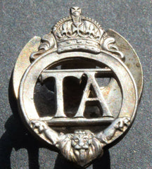 WWII BRITISH ARMY TERRITORIAL ARMY, T.A, SILVER LAPEL BADGE NO: 521124 - Confessor the shop for all Collectables Coins Badges Banknotes Medals Tokens militaria