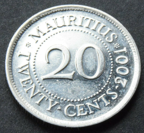 2001 Mauritius 20 Cents Nickel Plated Steel Coin